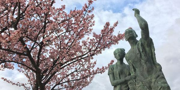 あたみ桜と釜鳴屋平七像