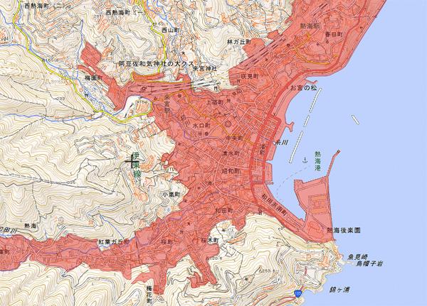 人口密集地地図 出典:国土地理院